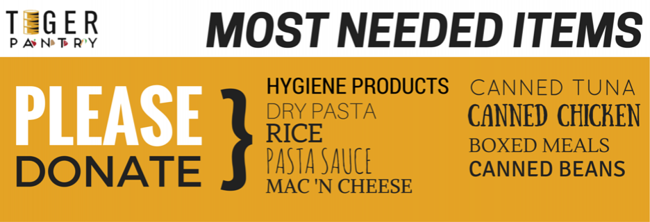 Most Needed Items - Please Donate: Hygiene products, dry pasta, rice, pasta sauce, mac 'n' cheese, canned tuna, canned chicken, boxed meals, canned beans